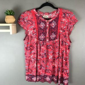 Lucky brand women's size large print top red blue